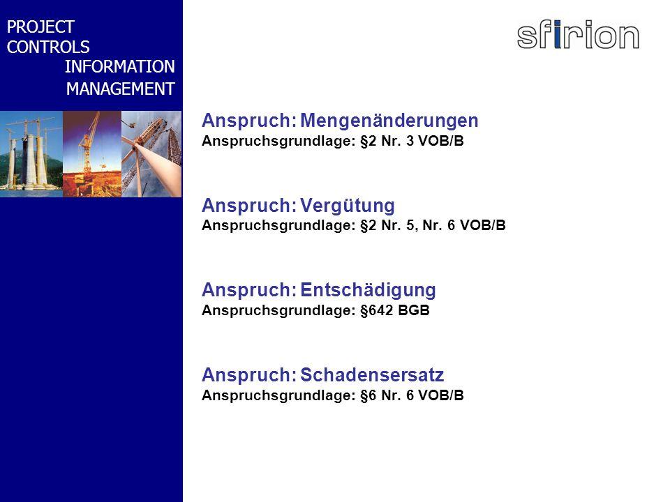 NACHRTRAGS- MANAGEMENT BMW-WELT PROJECT CONTROLS INFORMATION MANAGEMENT Anspruch: Mengenänderungen Anspruchsgrundlage: §2 Nr. 3 VOB/B Anspruch: Vergüt