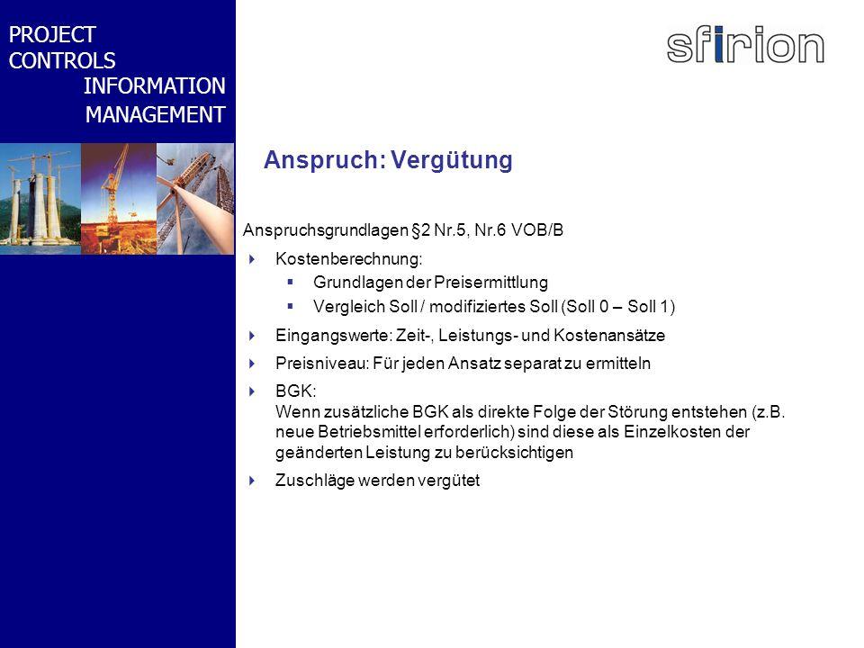 NACHRTRAGS- MANAGEMENT BMW-WELT PROJECT CONTROLS INFORMATION MANAGEMENT Anspruch: Vergütung Anspruchsgrundlagen §2 Nr.5, Nr.6 VOB/B Kostenberechnung: