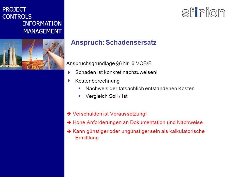 NACHRTRAGS- MANAGEMENT BMW-WELT PROJECT CONTROLS INFORMATION MANAGEMENT Anspruch: Schadensersatz Anspruchsgrundlage §6 Nr. 6 VOB/B Schaden ist konkret