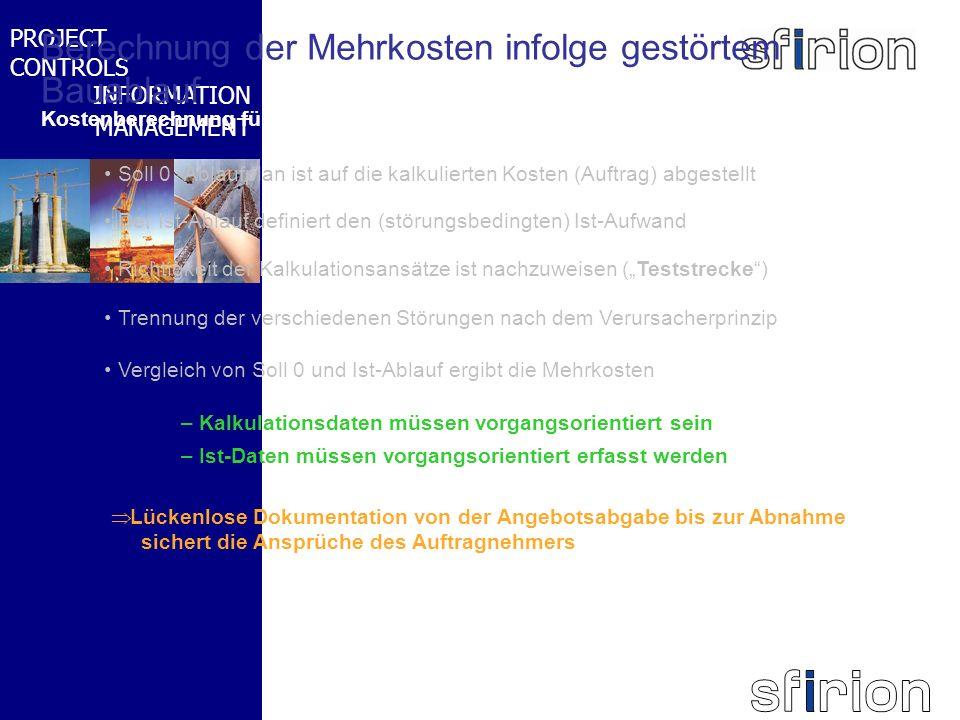 NACHRTRAGS- MANAGEMENT BMW-WELT PROJECT CONTROLS INFORMATION MANAGEMENT Berechnung der Mehrkosten infolge gestörtem Bauablauf Kostenberechnung für die