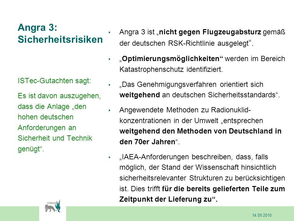 Angra 3: Sicherheitsrisiken Angra 3 ist nicht gegen Flugzeugabsturz gemäß der deutschen RSK-Richtlinie ausgelegt. Optimierungsmöglichkeiten werden im