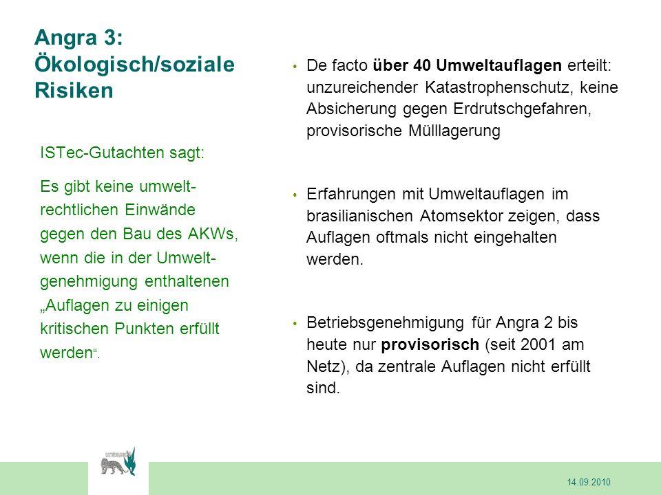 Angra 3: Ökologisch/soziale Risiken De facto über 40 Umweltauflagen erteilt: unzureichender Katastrophenschutz, keine Absicherung gegen Erdrutschgefah