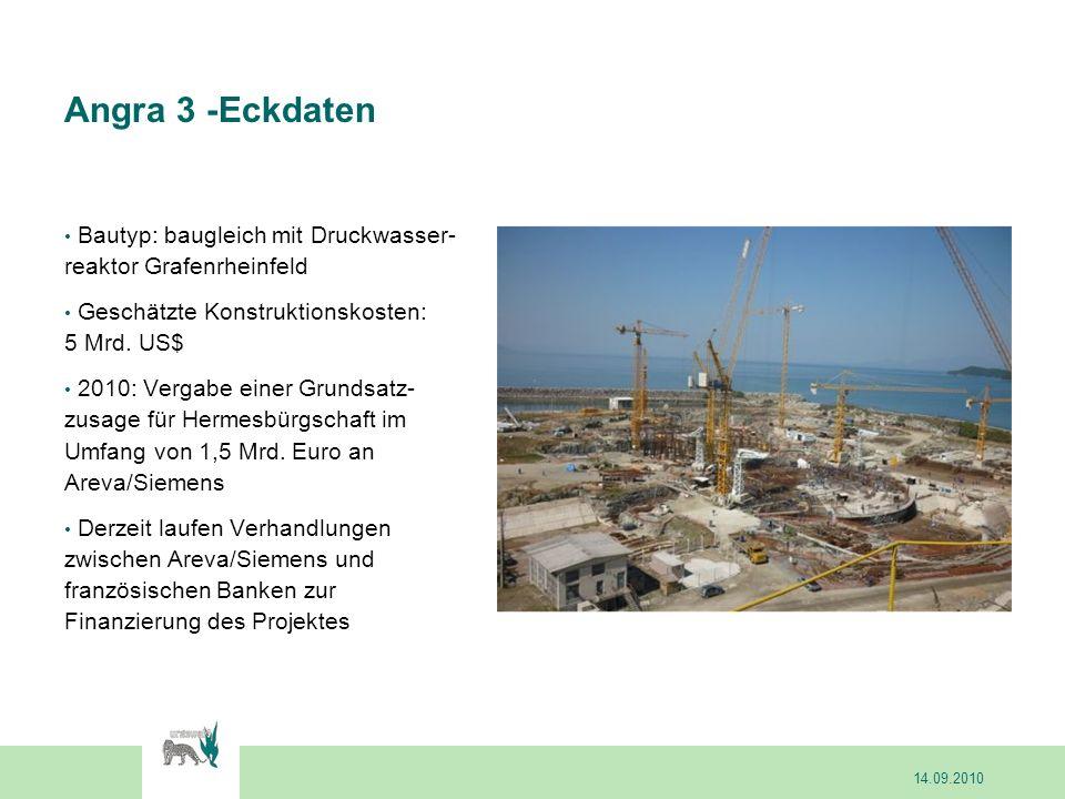 Angra 3 -Eckdaten Bautyp: baugleich mit Druckwasser- reaktor Grafenrheinfeld Geschätzte Konstruktionskosten: 5 Mrd. US$ 2010: Vergabe einer Grundsatz-