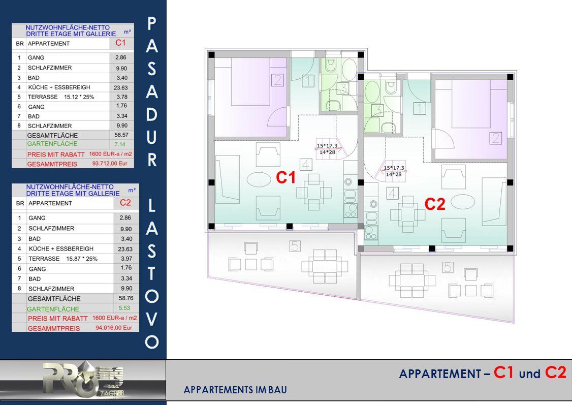 APPARTEMENT – C1 und C2 APPARTEMENTS IM BAU C1 C2