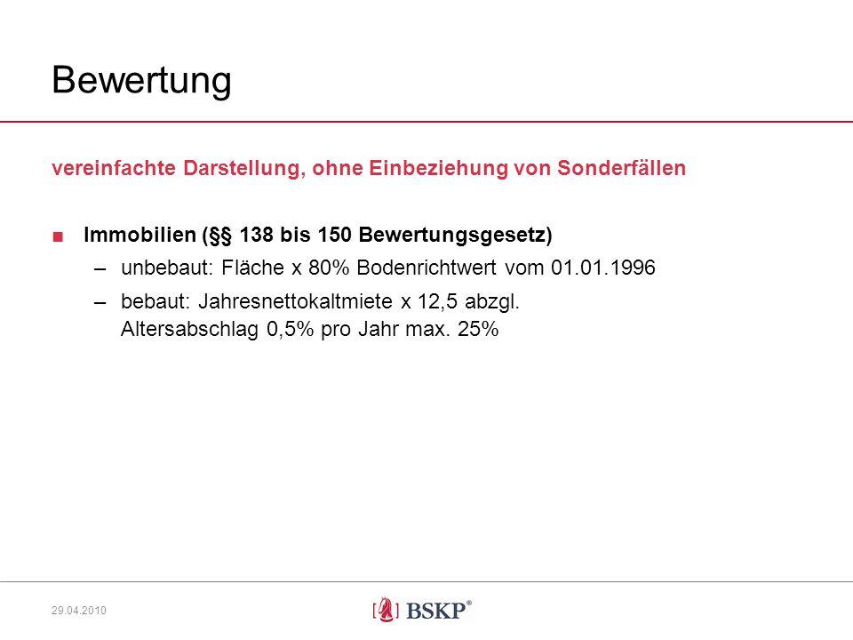Bewertung vereinfachte Darstellung, ohne Einbeziehung von Sonderfällen Immobilien (§§ 138 bis 150 Bewertungsgesetz) –unbebaut: Fläche x 80% Bodenrichtwert vom 01.01.1996 –bebaut: Jahresnettokaltmiete x 12,5 abzgl.
