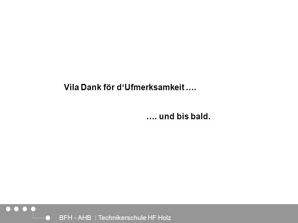 Architektur, Holz und Bau BFH - AHB Technikerschule HF Holz …. und bis bald. Vila Dank för dUfmerksamkeit ….