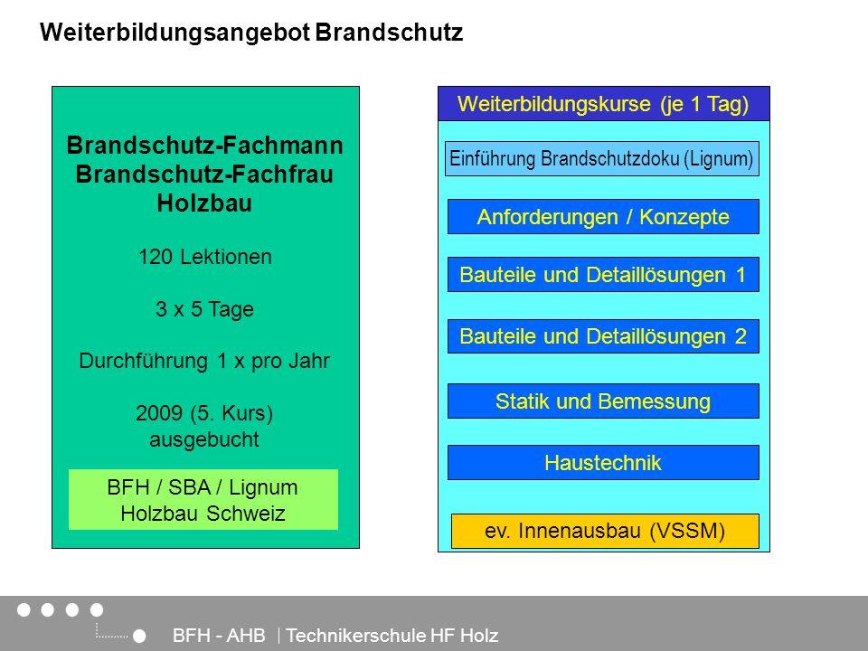 Architektur, Holz und Bau BFH - AHB Technikerschule HF Holz Weiterbildungskurse (je 1 Tag) Weiterbildungsangebot Brandschutz Brandschutz-Fachmann Bran