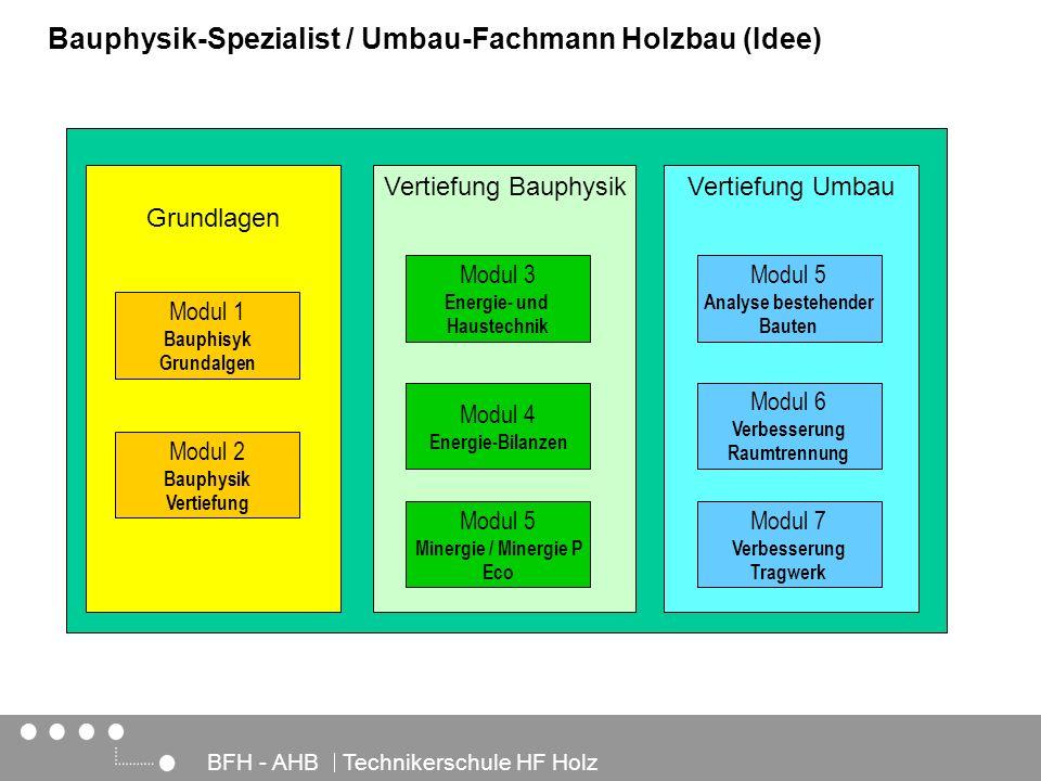 Architektur, Holz und Bau BFH - AHB Technikerschule HF Holz Bauphysik-Spezialist / Umbau-Fachmann Holzbau (Idee) Grundlagen Modul 1 Bauphisyk Grundalg