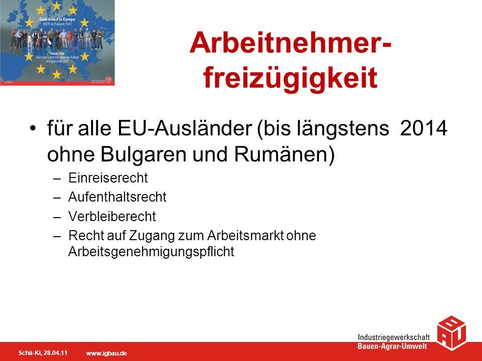 Schä-Ki, 28.04.11 www.igbau.de Arbeitnehmer- freizügigkeit für alle EU-Ausländer (bis längstens 2014 ohne Bulgaren und Rumänen) –Einreiserecht –Aufent