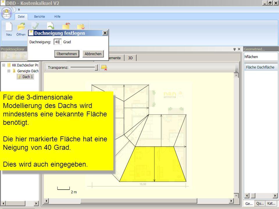 Für die 3-dimensionale Modellierung des Dachs wird mindestens eine bekannte Fläche benötigt. Die hier markierte Fläche hat eine Neigung von 40 Grad. D