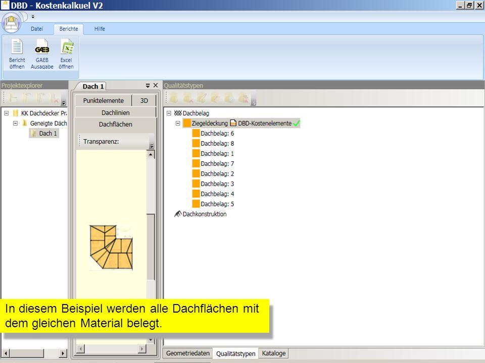In diesem Beispiel werden alle Dachflächen mit dem gleichen Material belegt.