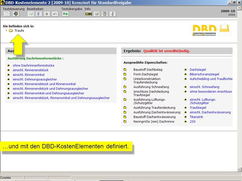 …und mit den DBD-KostenElementen definiert.