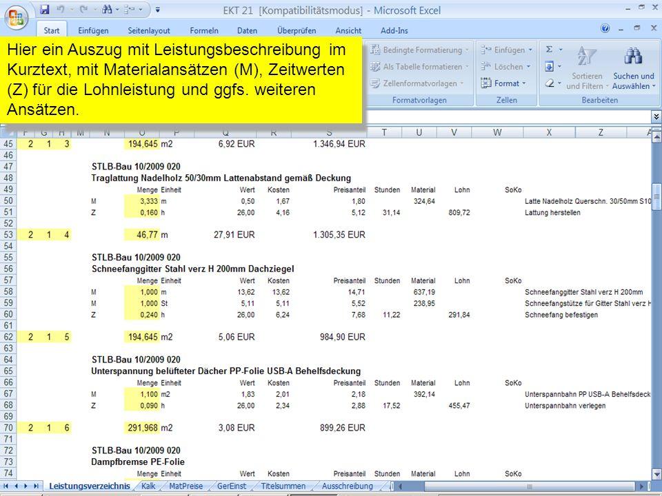 Hier ein Auszug mit Leistungsbeschreibung im Kurztext, mit Materialansätzen (M), Zeitwerten (Z) für die Lohnleistung und ggfs. weiteren Ansätzen.