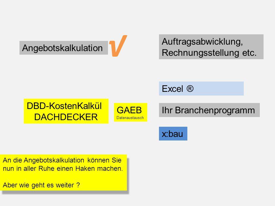 Angebotskalkulation Auftragsabwicklung, Rechnungsstellung etc. DBD-KostenKalkül DACHDECKER Excel ® GAEB Datenaustausch An die Angebotskalkulation könn
