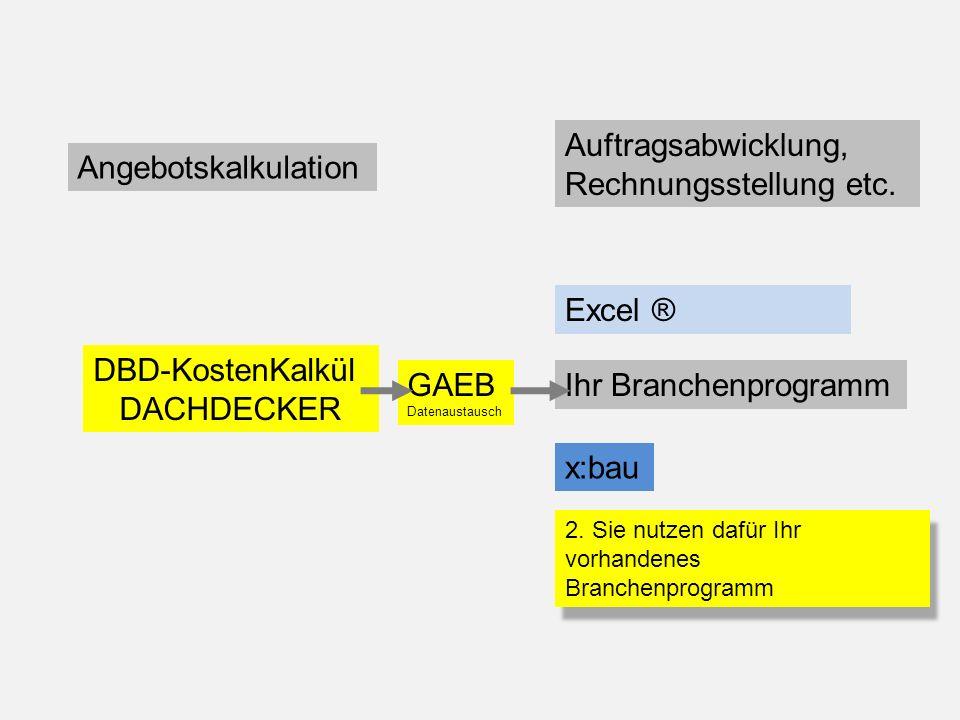 Angebotskalkulation Auftragsabwicklung, Rechnungsstellung etc. DBD-KostenKalkül DACHDECKER Excel ® Ihr Branchenprogramm x:bau GAEB Datenaustausch 2. S