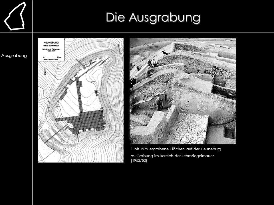 Die Ausgrabung li. bis 1979 ergrabene Flächen auf der Heuneburg re. Grabung im Bereich der Lehmziegelmauer (1952/53) Lage Erforschung Ausgrabung Chron