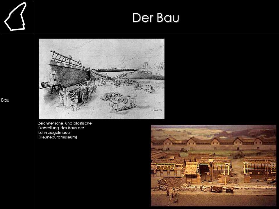 Der Bau Zeichnerische und plastische Darstellung des Baus der Lehmziegelmauer (Heuneburgmuseum) Lage Erforschung Ausgrabung Chronologie frühere Bauwei