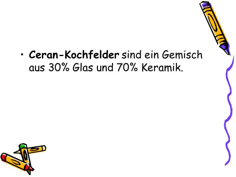 Ceran-Kochfelder sind ein Gemisch aus 30% Glas und 70% Keramik.