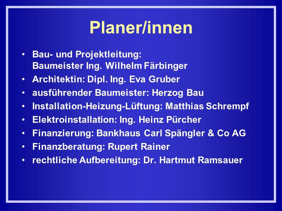 Planer/innen Bau- und Projektleitung: Baumeister Ing. Wilhelm Färbinger Architektin: Dipl. Ing. Eva Gruber ausführender Baumeister: Herzog Bau Install