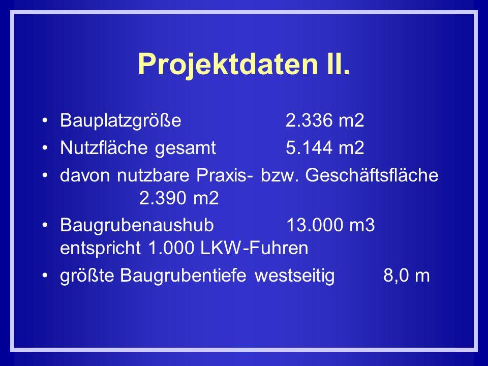 Projektdaten II. Bauplatzgröße2.336 m2 Nutzfläche gesamt5.144 m2 davon nutzbare Praxis bzw. Geschäftsfläche 2.390 m2 Baugrubenaushub13.000 m3 entspric