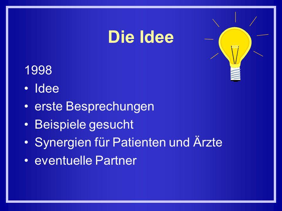 Die Idee 1998 Idee erste Besprechungen Beispiele gesucht Synergien für Patienten und Ärzte eventuelle Partner