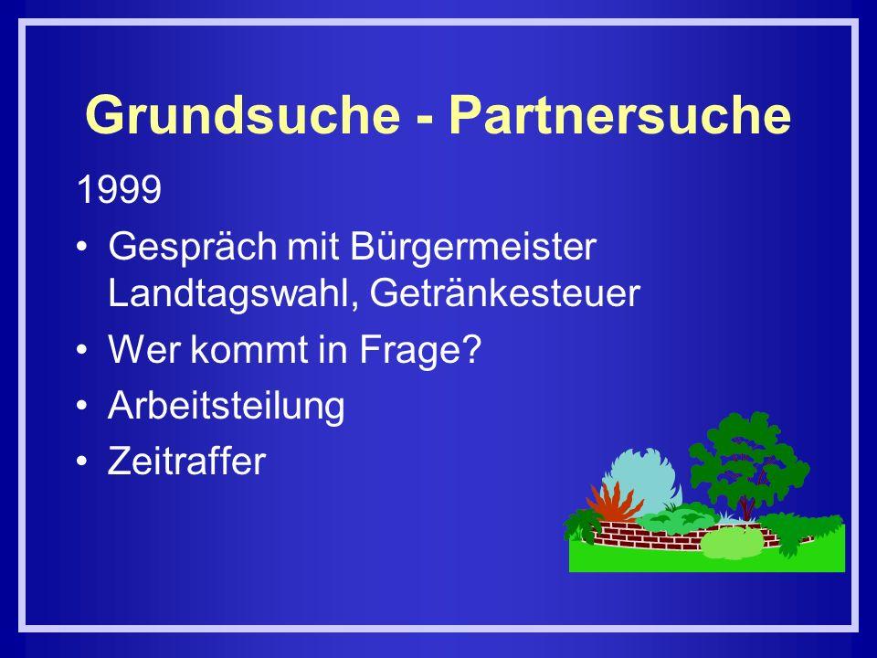Grundsuche - Partnersuche 1999 Gespräch mit Bürgermeister Landtagswahl, Getränkesteuer Wer kommt in Frage? Arbeitsteilung Zeitraffer