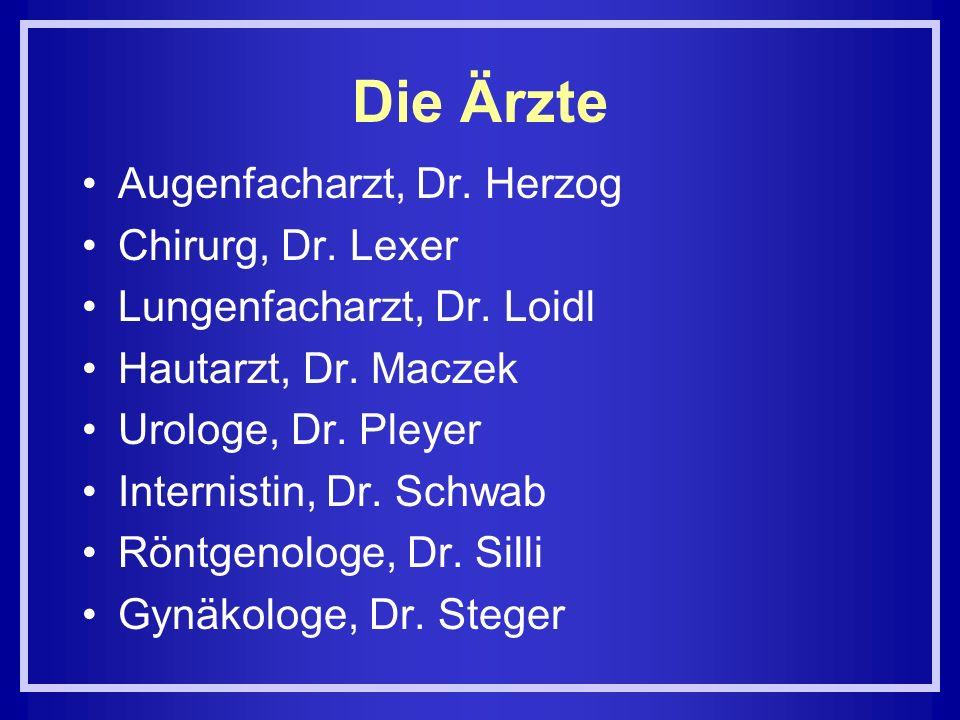 Die Ärzte Augenfacharzt, Dr. Herzog Chirurg, Dr. Lexer Lungenfacharzt, Dr. Loidl Hautarzt, Dr. Maczek Urologe, Dr. Pleyer Internistin, Dr. Schwab Rönt