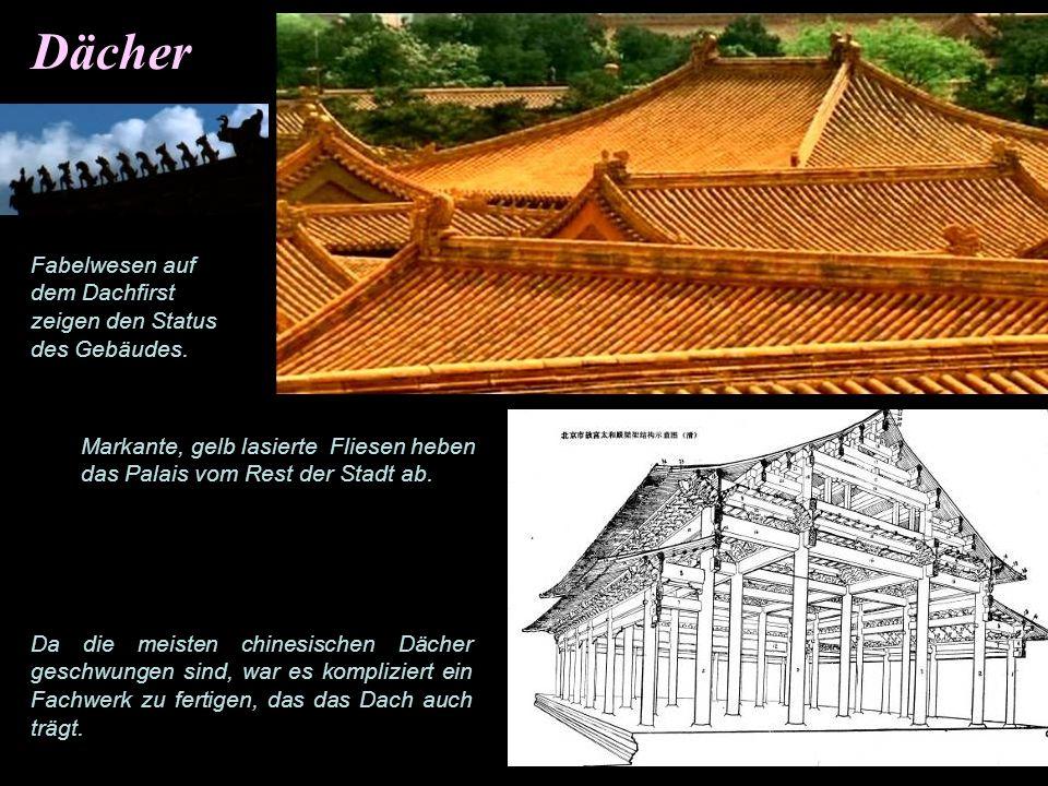 Dekorative glasierte Fliesen Abgesehen von den markanten gelben Kachelnfür die Dächer wurden Fliesen auch zur Dekoration von Wänden verwandt.
