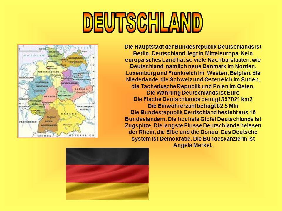 Die Hauptstadt der Bundesrepublik Deutschlands ist Berlin. Deutschland liegt in Mitteleuropa. Kein europaisches Land hat so viele Nachbarstaaten, wie