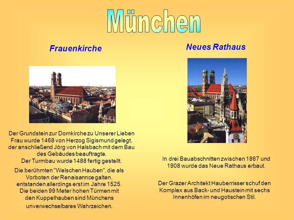 Frauenkirche Der Grundstein zur Domkirche zu Unserer Lieben Frau wurde 1468 von Herzog Sigismund gelegt, der anschließend Jörg von Halsbach mit dem Ba