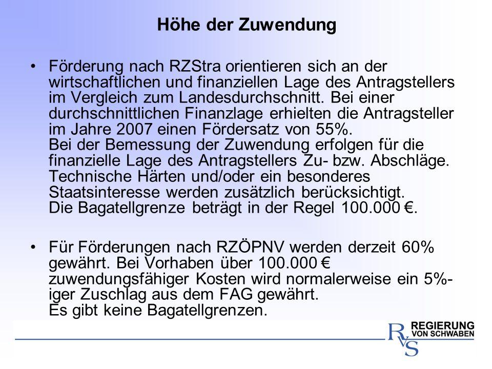 Höhe der Zuwendung Förderung nach RZStra orientieren sich an der wirtschaftlichen und finanziellen Lage des Antragstellers im Vergleich zum Landesdurc
