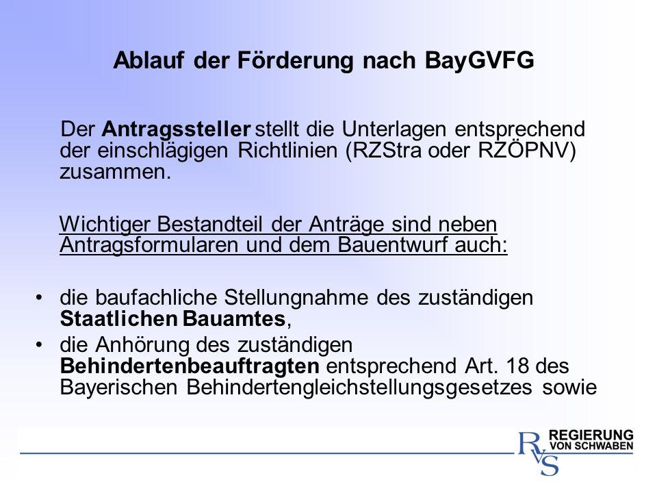 Ablauf der Förderung nach BayGVFG Der Antragssteller stellt die Unterlagen entsprechend der einschlägigen Richtlinien (RZStra oder RZÖPNV) zusammen. W
