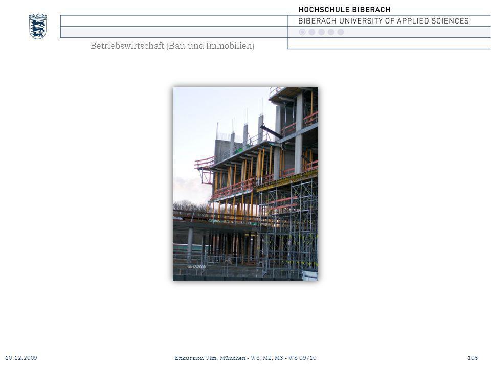 Betriebswirtschaft (Bau und Immobilien) 10.12.2009Exkursion Ulm, München - W3, M2, M3 - WS 09/10105