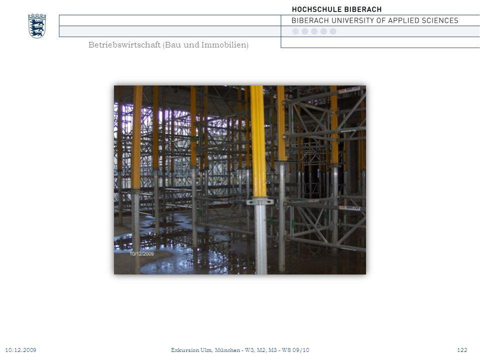Betriebswirtschaft (Bau und Immobilien) 10.12.2009Exkursion Ulm, München - W3, M2, M3 - WS 09/10122