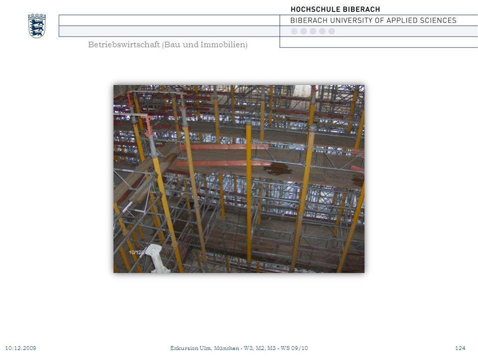 Betriebswirtschaft (Bau und Immobilien) 10.12.2009Exkursion Ulm, München - W3, M2, M3 - WS 09/10124