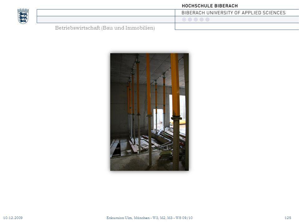 Betriebswirtschaft (Bau und Immobilien) 10.12.2009Exkursion Ulm, München - W3, M2, M3 - WS 09/10125
