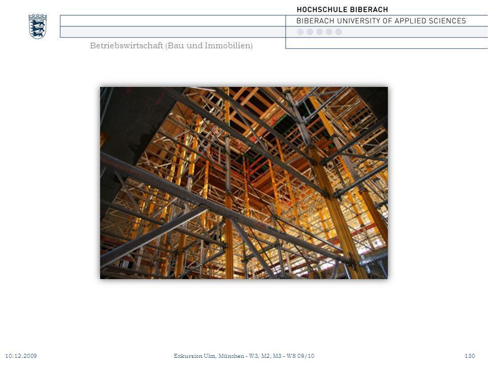 Betriebswirtschaft (Bau und Immobilien) 10.12.2009Exkursion Ulm, München - W3, M2, M3 - WS 09/10130