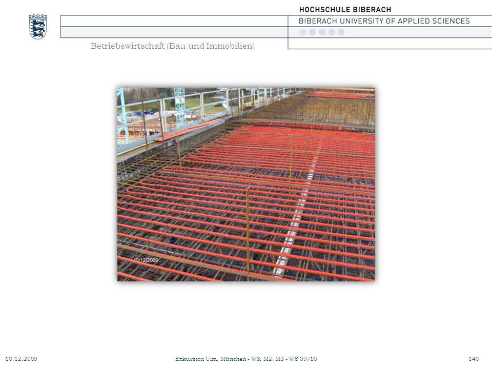 Betriebswirtschaft (Bau und Immobilien) 10.12.2009Exkursion Ulm, München - W3, M2, M3 - WS 09/10140