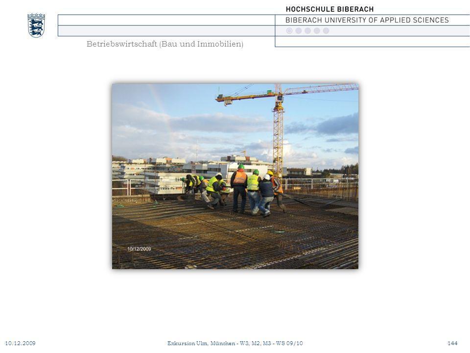 Betriebswirtschaft (Bau und Immobilien) 10.12.2009Exkursion Ulm, München - W3, M2, M3 - WS 09/10144