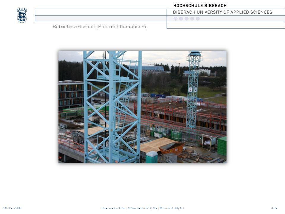 Betriebswirtschaft (Bau und Immobilien) 10.12.2009Exkursion Ulm, München - W3, M2, M3 - WS 09/10152