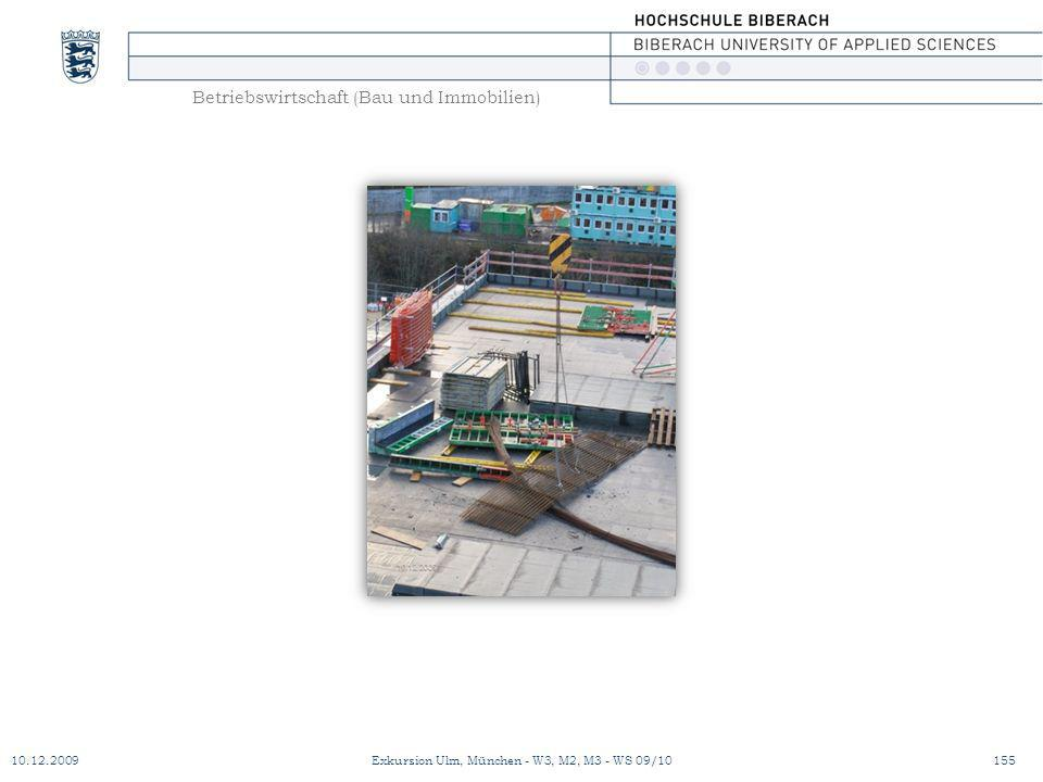 Betriebswirtschaft (Bau und Immobilien) 10.12.2009Exkursion Ulm, München - W3, M2, M3 - WS 09/10155
