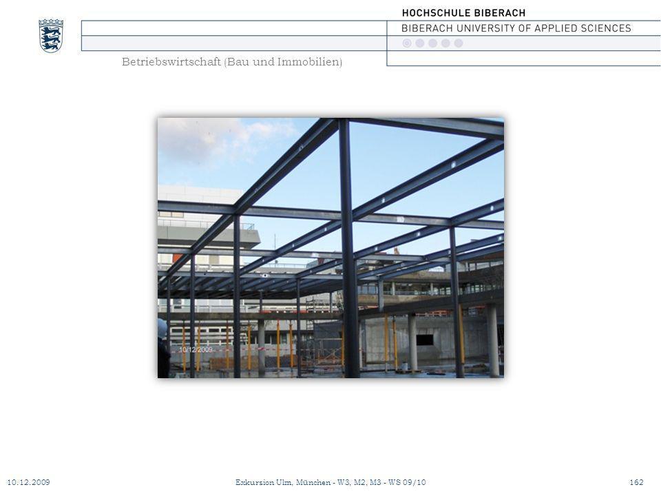 Betriebswirtschaft (Bau und Immobilien) 10.12.2009Exkursion Ulm, München - W3, M2, M3 - WS 09/10162