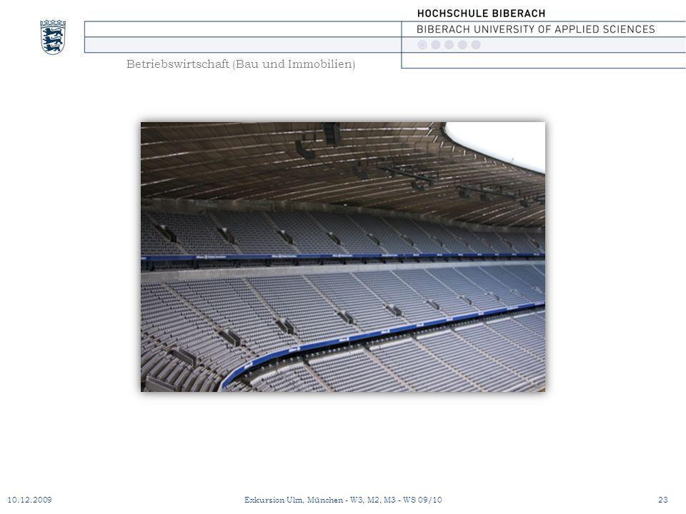 Betriebswirtschaft (Bau und Immobilien) 10.12.200923Exkursion Ulm, München - W3, M2, M3 - WS 09/10