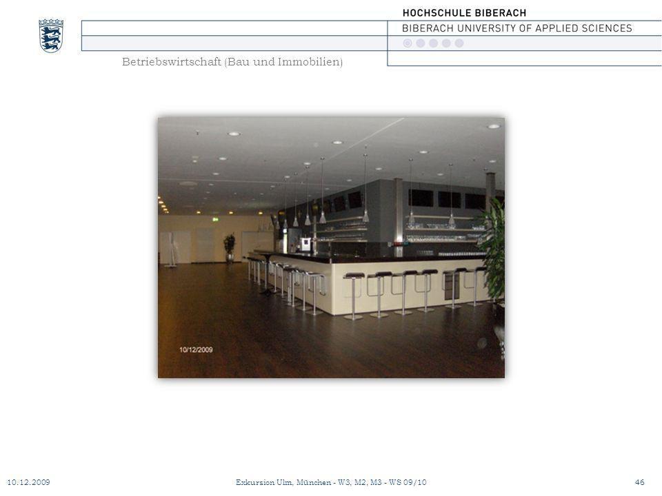 Betriebswirtschaft (Bau und Immobilien) 10.12.200946Exkursion Ulm, München - W3, M2, M3 - WS 09/10