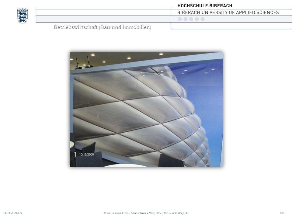 Betriebswirtschaft (Bau und Immobilien) 10.12.200958Exkursion Ulm, München - W3, M2, M3 - WS 09/10