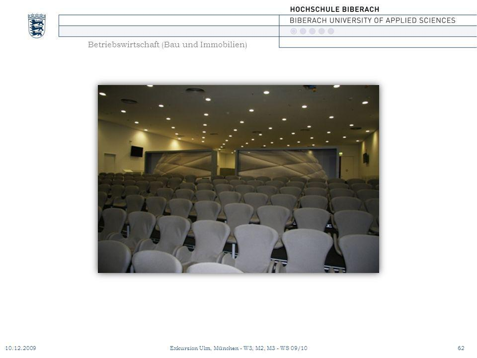 Betriebswirtschaft (Bau und Immobilien) 10.12.200962Exkursion Ulm, München - W3, M2, M3 - WS 09/10