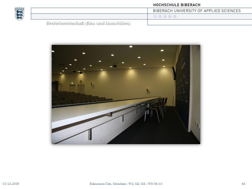 Betriebswirtschaft (Bau und Immobilien) 10.12.200963Exkursion Ulm, München - W3, M2, M3 - WS 09/10
