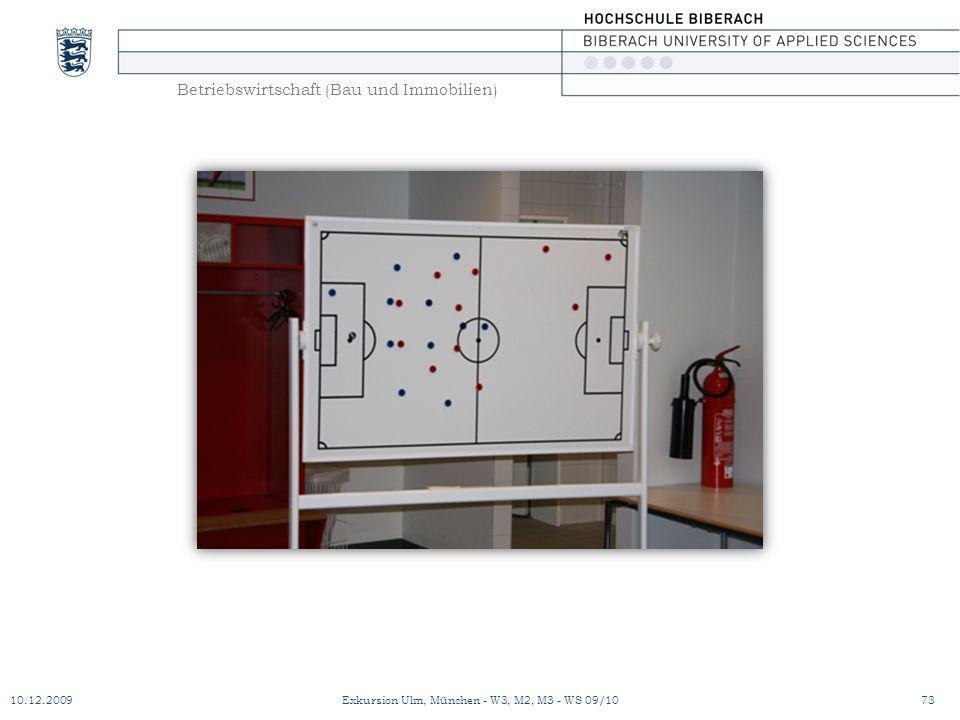 Betriebswirtschaft (Bau und Immobilien) 10.12.200973Exkursion Ulm, München - W3, M2, M3 - WS 09/10