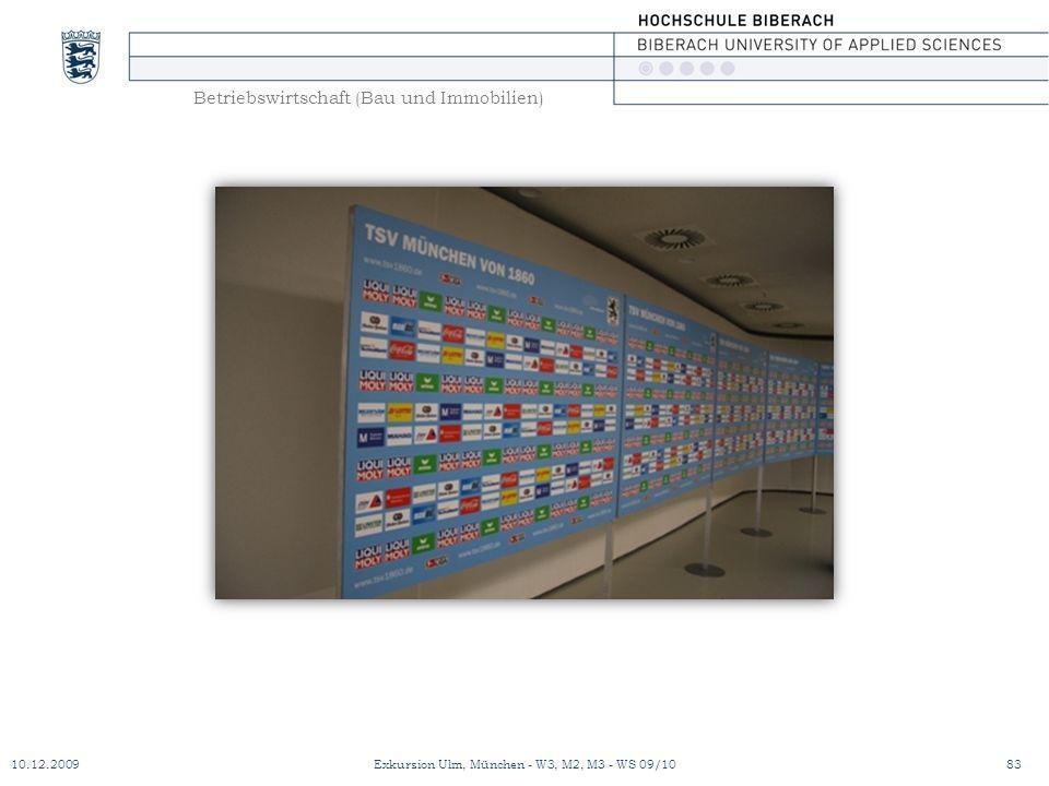 Betriebswirtschaft (Bau und Immobilien) 10.12.200983Exkursion Ulm, München - W3, M2, M3 - WS 09/10