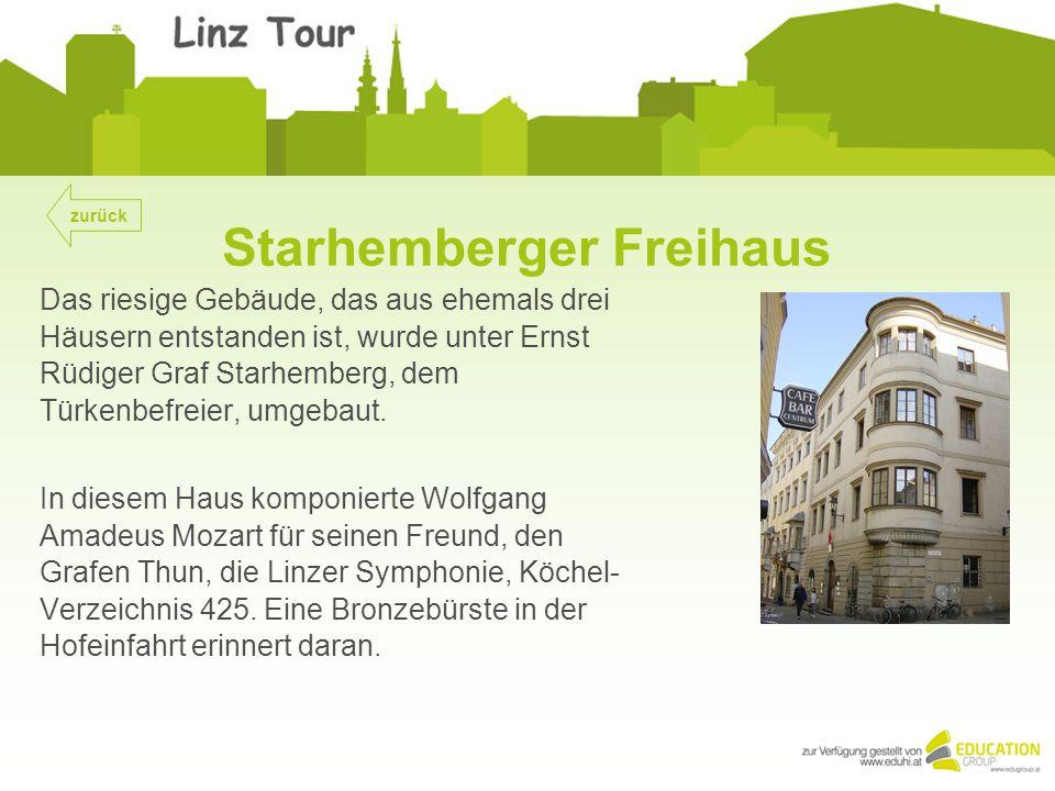 Starhemberger Freihaus Das riesige Gebäude, das aus ehemals drei Häusern entstanden ist, wurde unter Ernst Rüdiger Graf Starhemberg, dem Türkenbefreier, umgebaut.